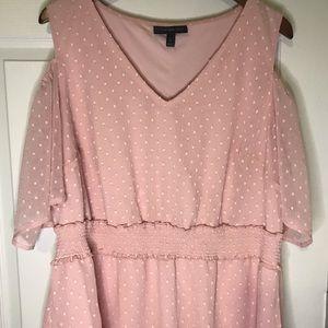 Lane Bryant light pink cold shoulder blouse